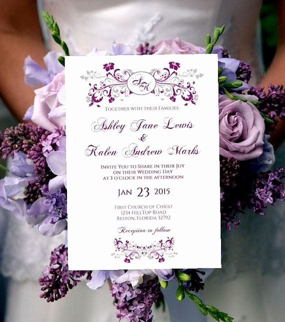 Purple Wedding Invitation Template New Printable Wedding Invitation Template Monogram Purple Plum