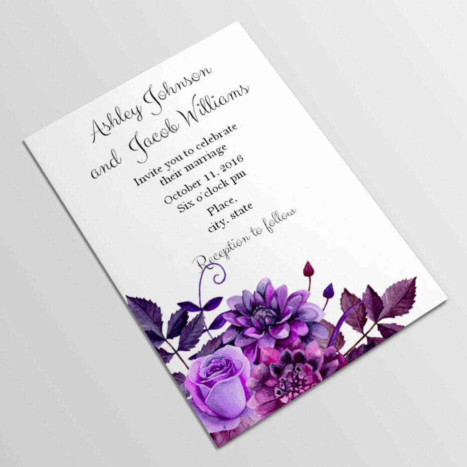 Purple Wedding Invitation Template New Purple Wedding Invitation Template Lavender by Cardsforwedding