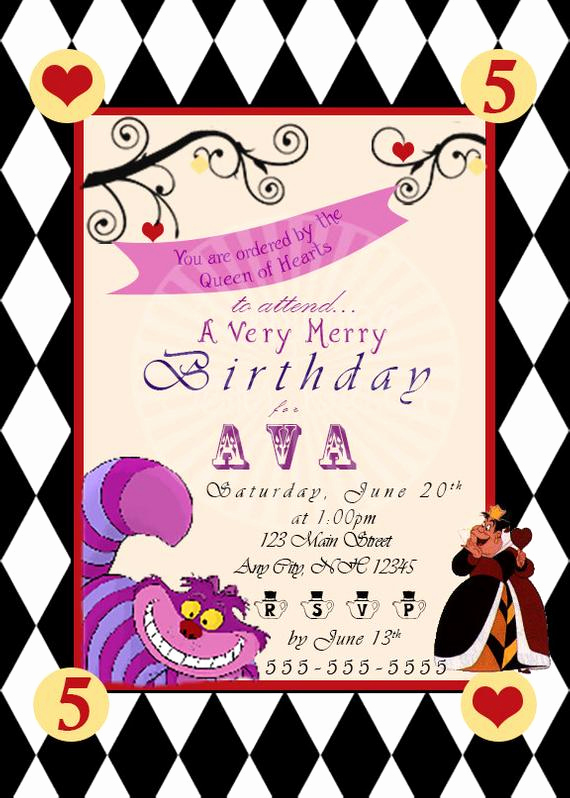 Queen Of Hearts Invitation Best Of Items Similar to Wonderland Birthday Invitation Alice In