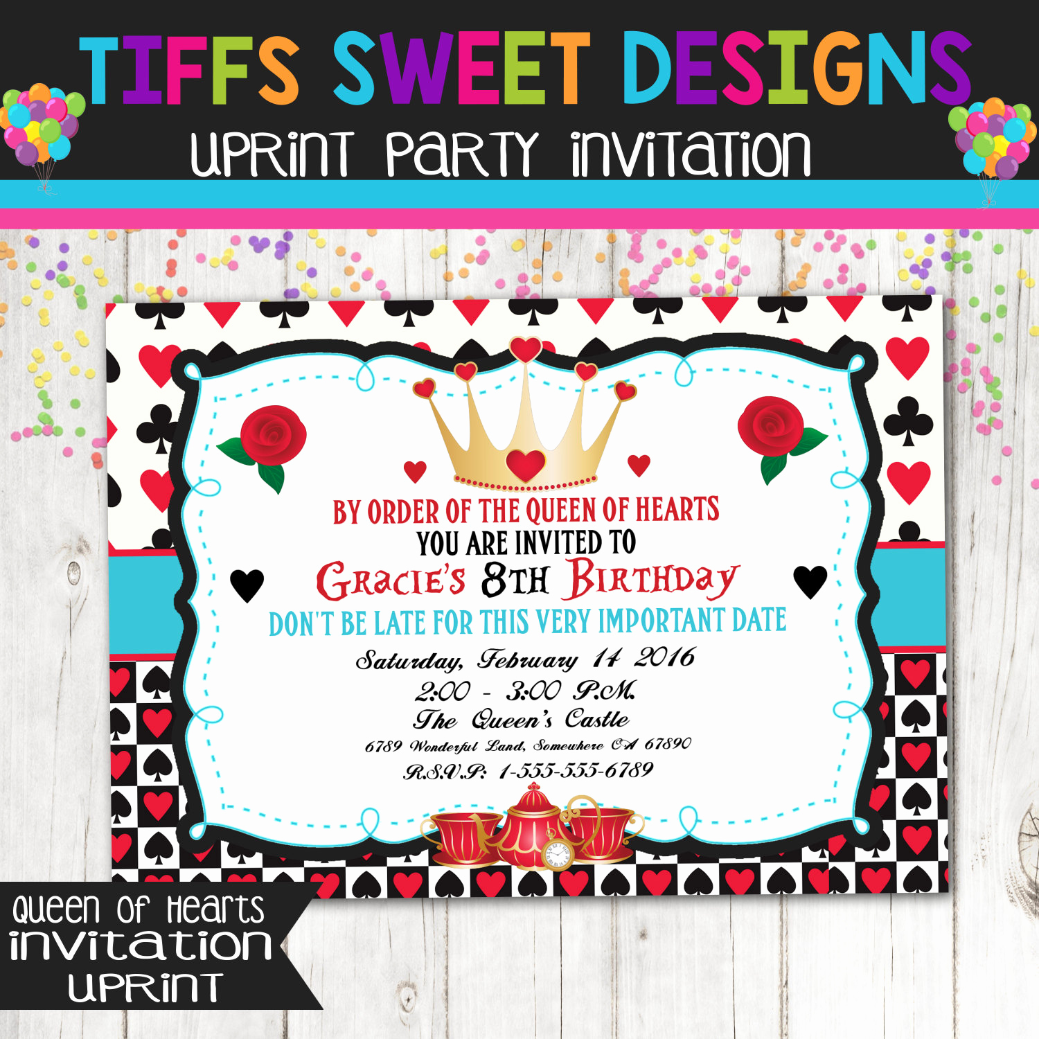 Queen Of Hearts Invitation Fresh Queen Of Hearts Birthday Party Printable Invitation