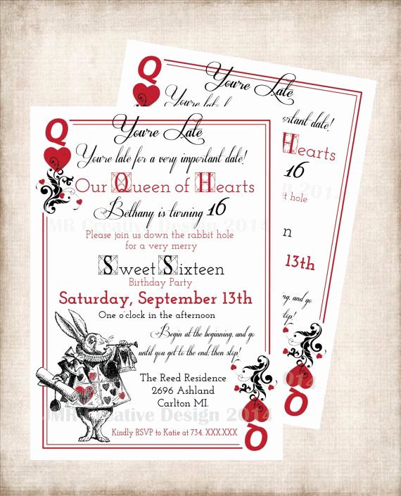 Queen Of Hearts Invitation Inspirational Alice In Wonderland Birthday Sweet 16 Party Invitation