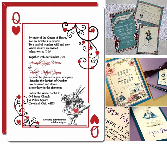 Queen Of Hearts Invitation Inspirational Alice In Wonderland themed Wedding Party Inspirations