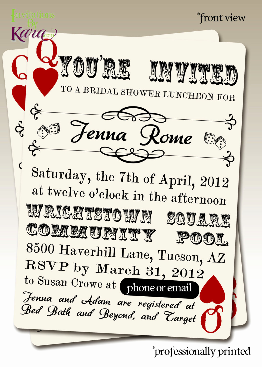Queen Of Hearts Invitation Inspirational Jenna S Queen Of Hearts Bridal Shower Custom Invitation