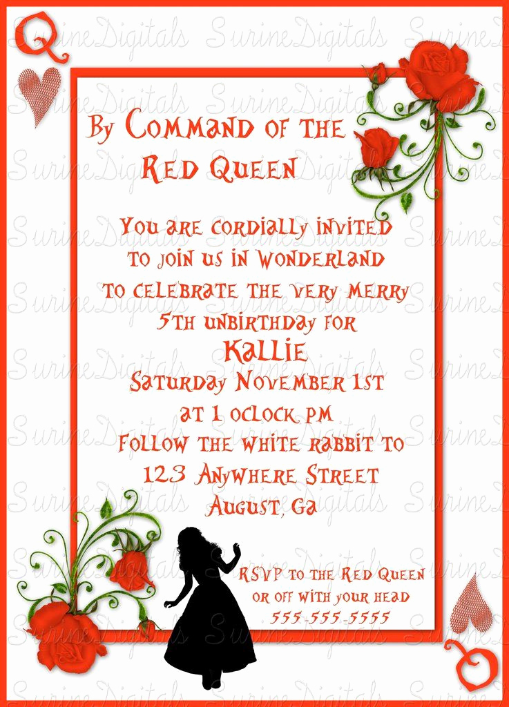Queen Of Hearts Invitation Inspirational Queen Of Hearts Alice In Wonderland themed Birthday Party