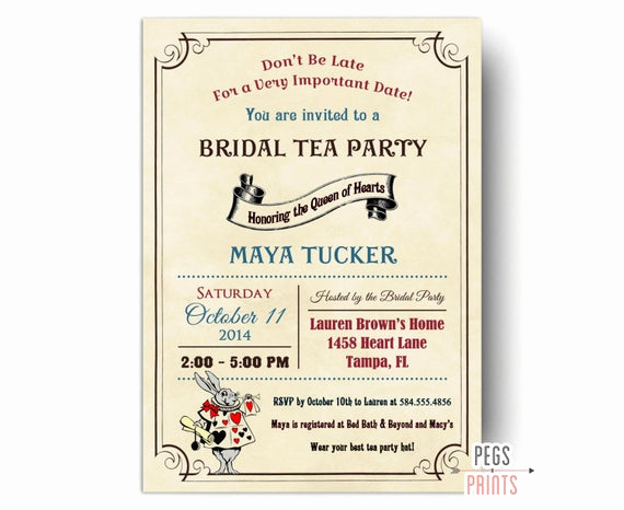 Queen Of Hearts Invitation Lovely Vintage Mad Hatter Bridal Shower Invitation Printable