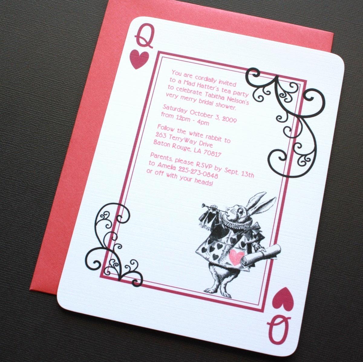 alice in wonderland rabbit invitations