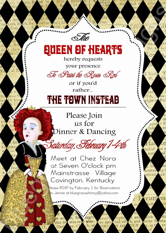 Queen Of Hearts Invitation New Queen Of Hearts Alice In Wonderland Valentine S Day