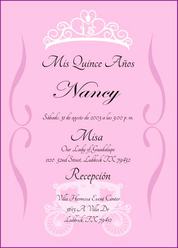 Quince Invitation Wording In English Elegant Princess Quinceanera Invitation by Cecydesigns On Etsy