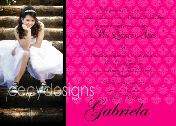 Quince Invitation Wording In English Elegant Quinceanera Invitation English Spanish with by Cecydesigns