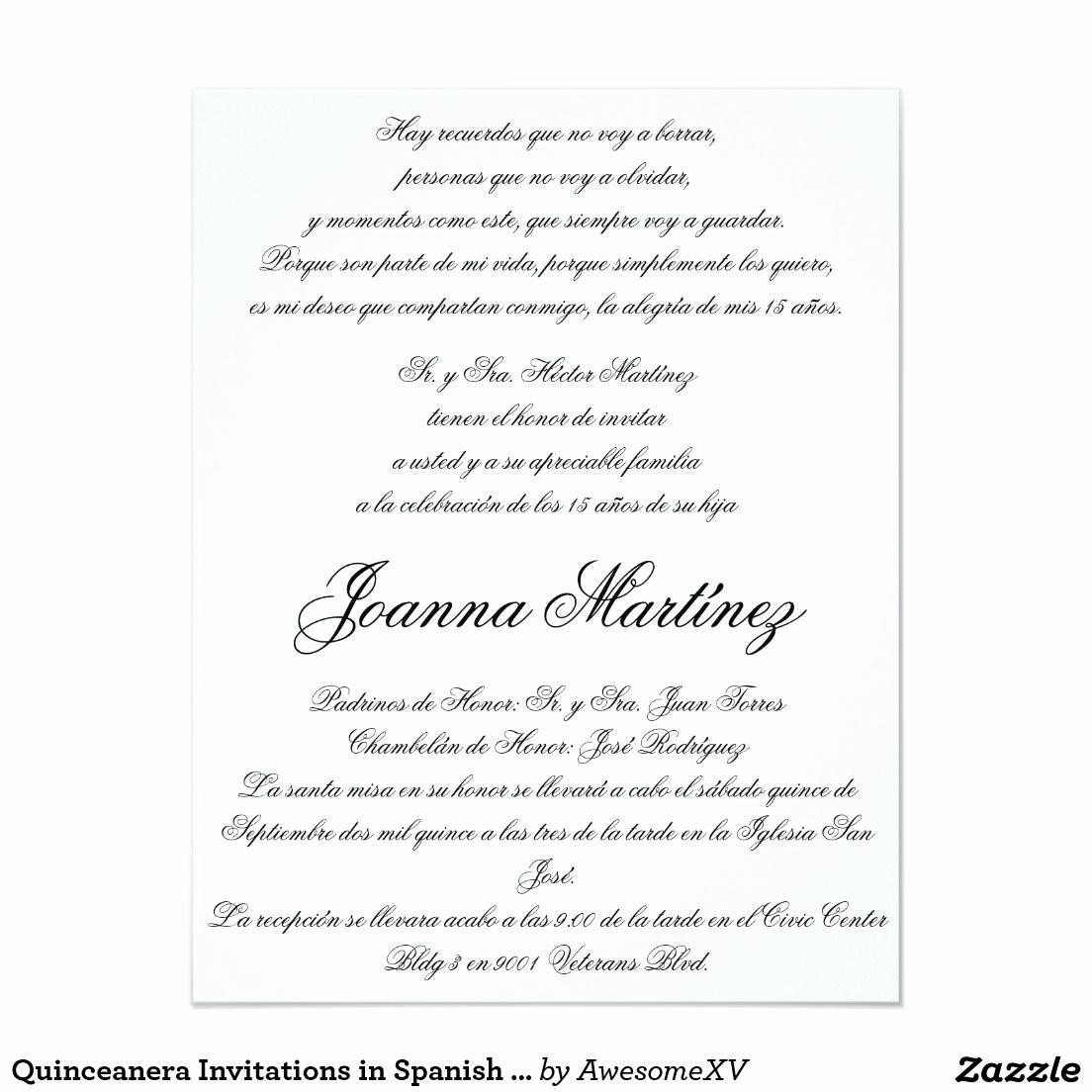 Quince Invitation Wording In English Elegant Quinceanera Invitations In Spanish 4 25 X 5 5