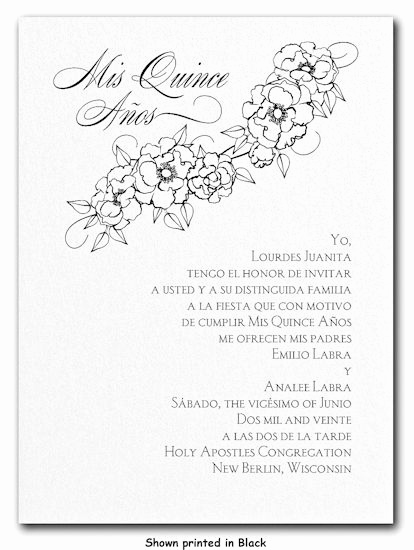 Quince Invitation Wording In English Fresh Floral Mis Quince Invitation order form