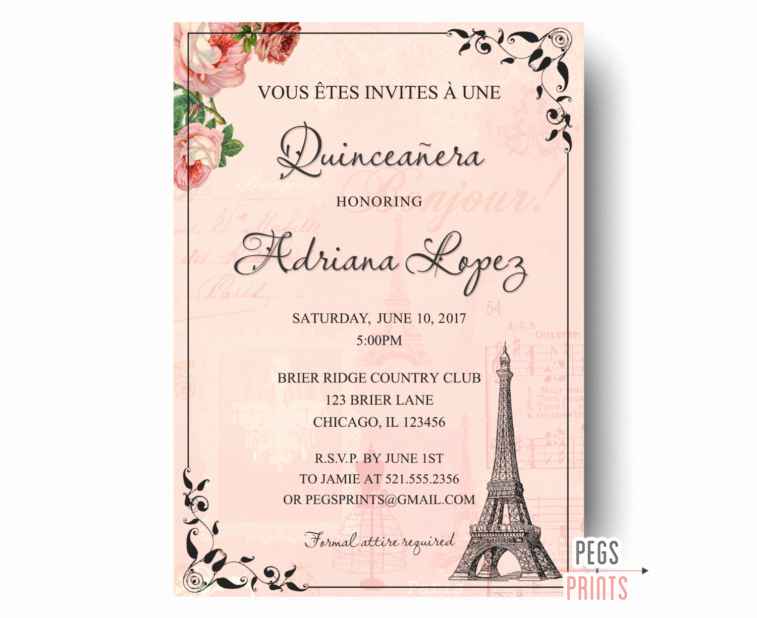 Quince Invitation Wording In English Fresh Paris Quinceanera Invitation Quinceanera Invitation