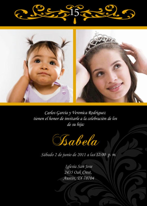 Quince Invitation Wording In English Lovely Diy Invitation Quinceanera & Baby Photo English by