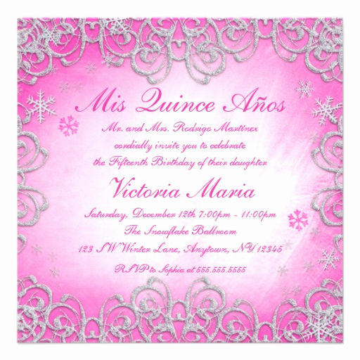 Quince Invitation Wording In English Lovely Pink Winter Wonderland Swirl Snowflake Quinceanera 5 25x5