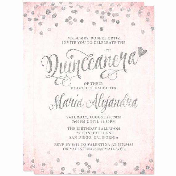 Quince Invitation Wording In English Lovely Quinceañera Invitations Blush Pink & Silver Confetti