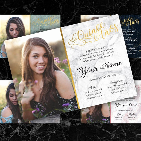Quince Invitation Wording In English New Quinceañera Invitation English or Spanish Marble Fancy