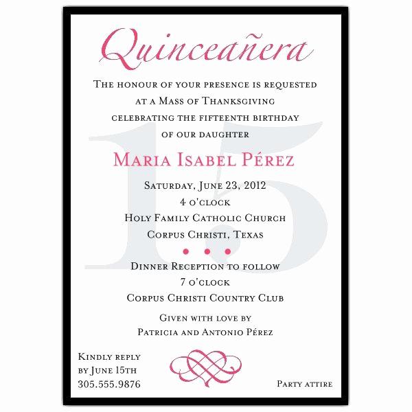 Quince Invitation Wording In English Unique Quinceanera Invitation Wording Template