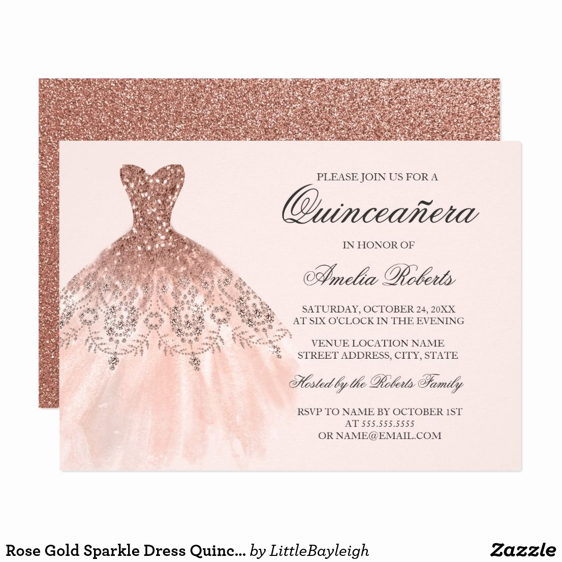 Quinceanera Invitation Ideas Pinterest Unique Rose Gold Sparkle Dress Quinceanera Invitation
