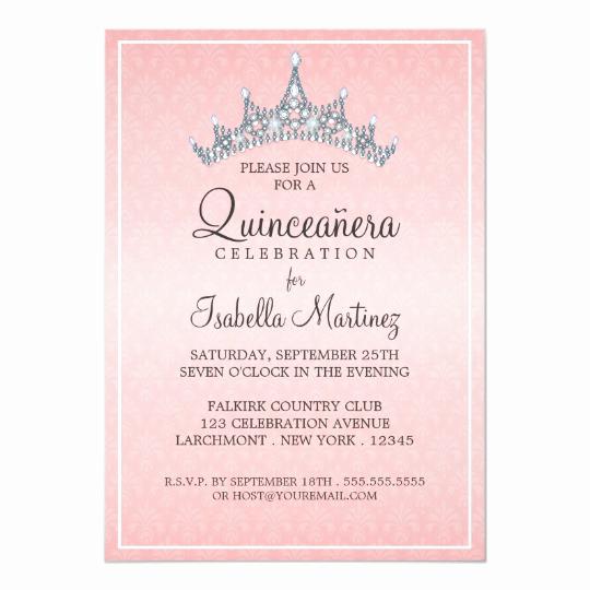 Quinceanera Invitation Templates In Spanish Beautiful Glam Tiara Quinceanera Celebration Invitation