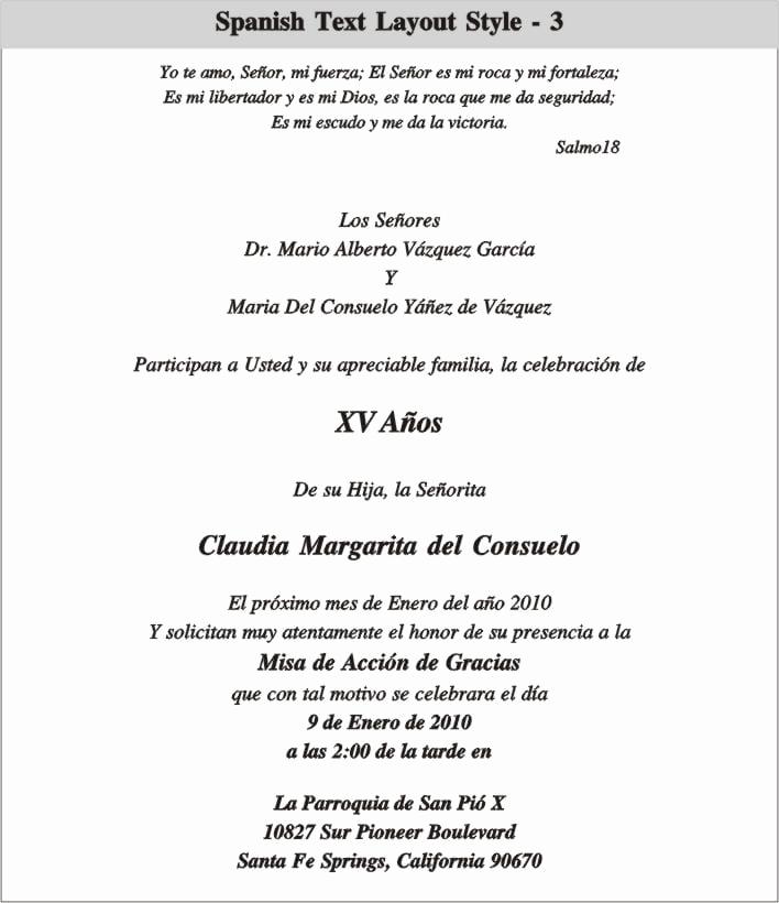 Quinceanera Invitation Templates In Spanish Beautiful Quinceanera Invitation In Spanish