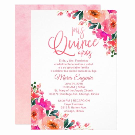 Quinceanera Invitation Templates In Spanish Beautiful Quinceanera Invitations Spanish Hot Pink Floral