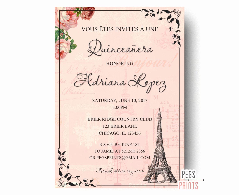 Quinceanera Invitation Templates In Spanish Inspirational Paris Quinceanera Invitation Quinceanera Invitation