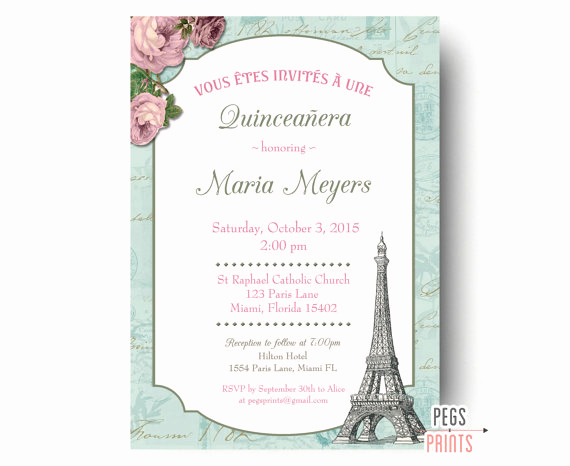 Quinceanera Invitation Templates In Spanish Lovely Shabby Chic Quinceanera Invitation Printable Paris