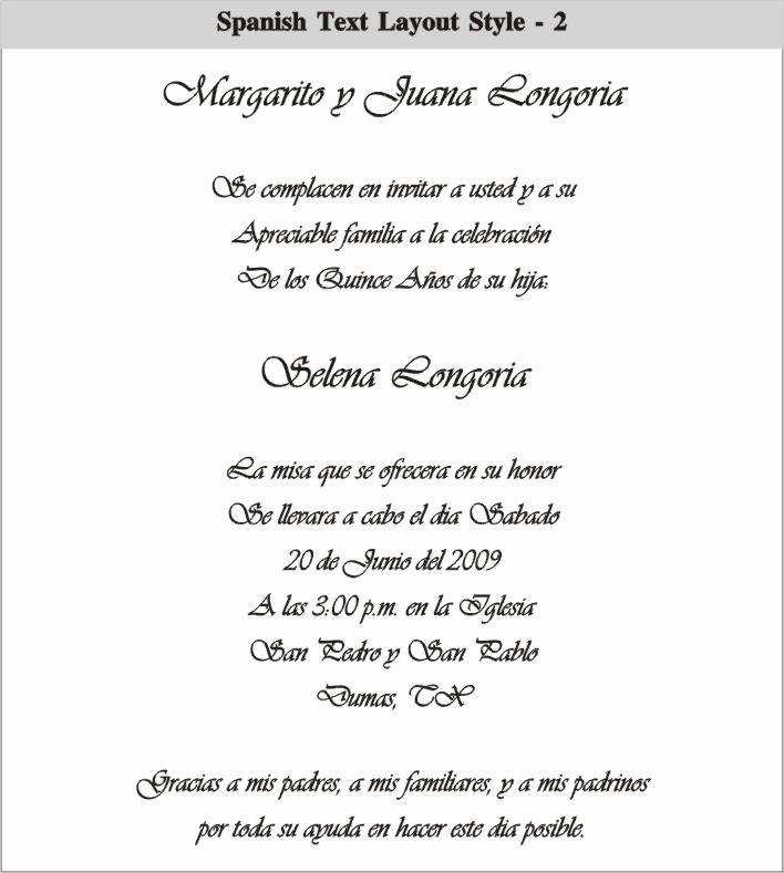 Quinceanera Invitation Templates In Spanish Luxury Spanish Quinceanera Invitation Dinner Wording Car