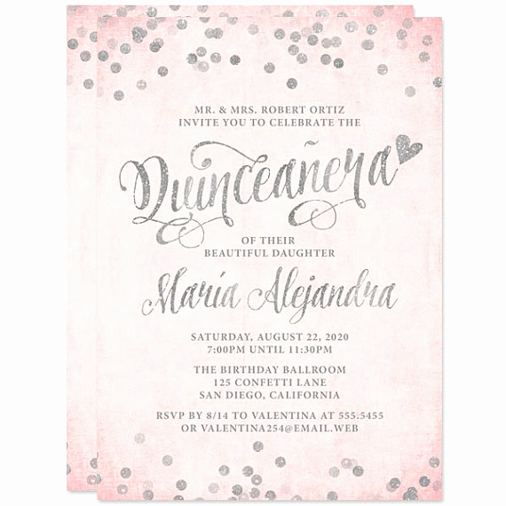 Quinceanera Invitation Wording In English Awesome Quinceañera Invitations Blush Pink & Silver Confetti