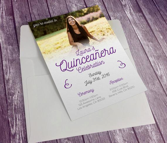 Quinceanera Invitation Wording In English Beautiful Custom Printable Quinceanera Invitation English by