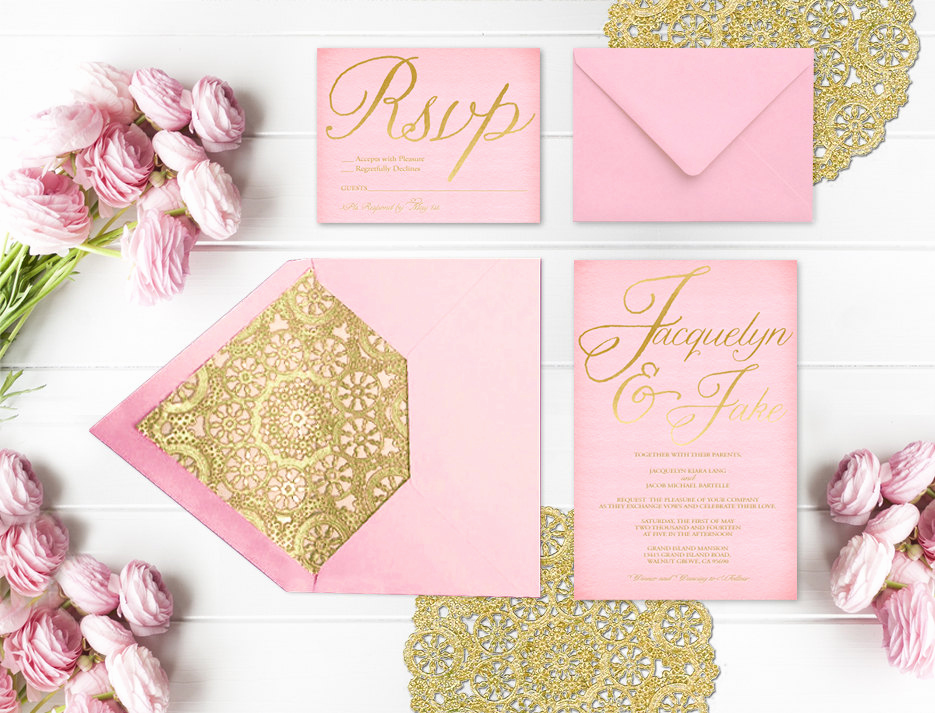 Quinceanera Invitation Wording In English Beautiful Pink and Gold Wedding Invitations with Gold Doilies and Rsvp