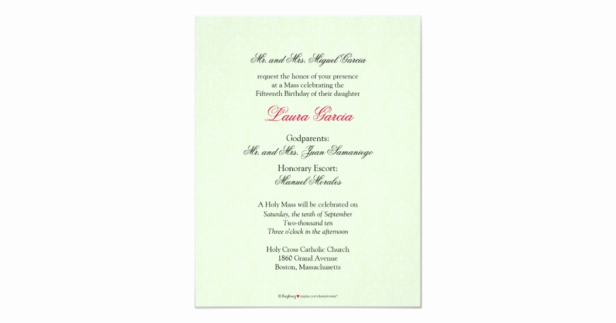 Quinceanera Invitation Wording In English Best Of English Lime Green Damask Quinceanera Invitation