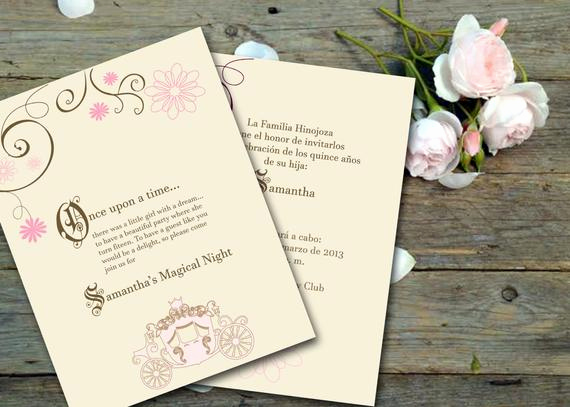 Quinceanera Invitation Wording In English Elegant Quinceanera Fairy Tale Printable Invitation Spanish or