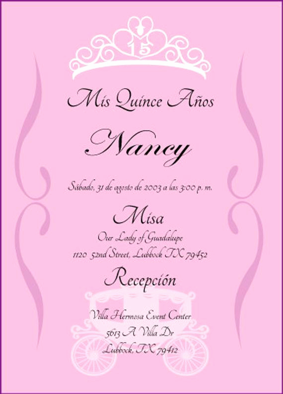Quinceanera Invitation Wording In English Lovely Princess Quinceanera Invitation by Cecydesigns On Etsy