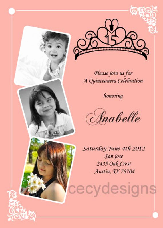 Quinceanera Invitation Wording In English Luxury Diy Sweet 16 or Quince Invitation Age Progression by