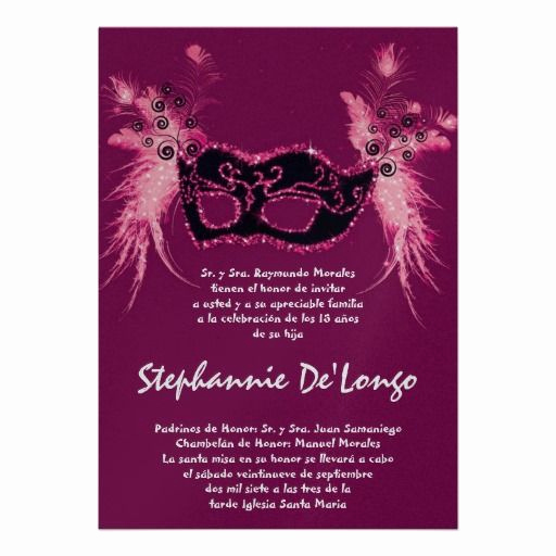 Quinceanera Invitation Wording In Spanish Awesome 5x7 Masquerade Quinceanera Birthday Invitation