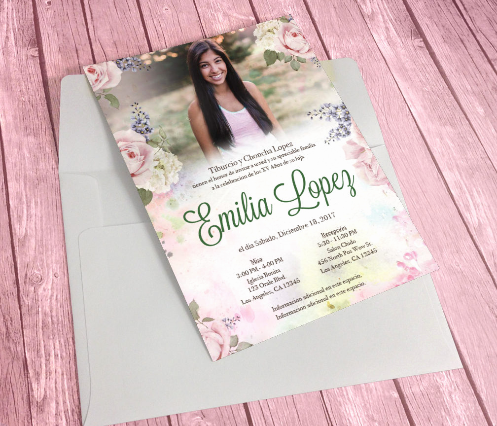 Quinceanera Invitation Wording In Spanish Awesome Printable Quinceañera Invitation English or Spanish Floral