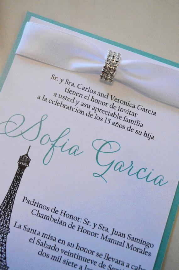 Quinceanera Invitation Wording In Spanish Awesome Quinceanera Invitations Paris Invitation Spanish Invitation