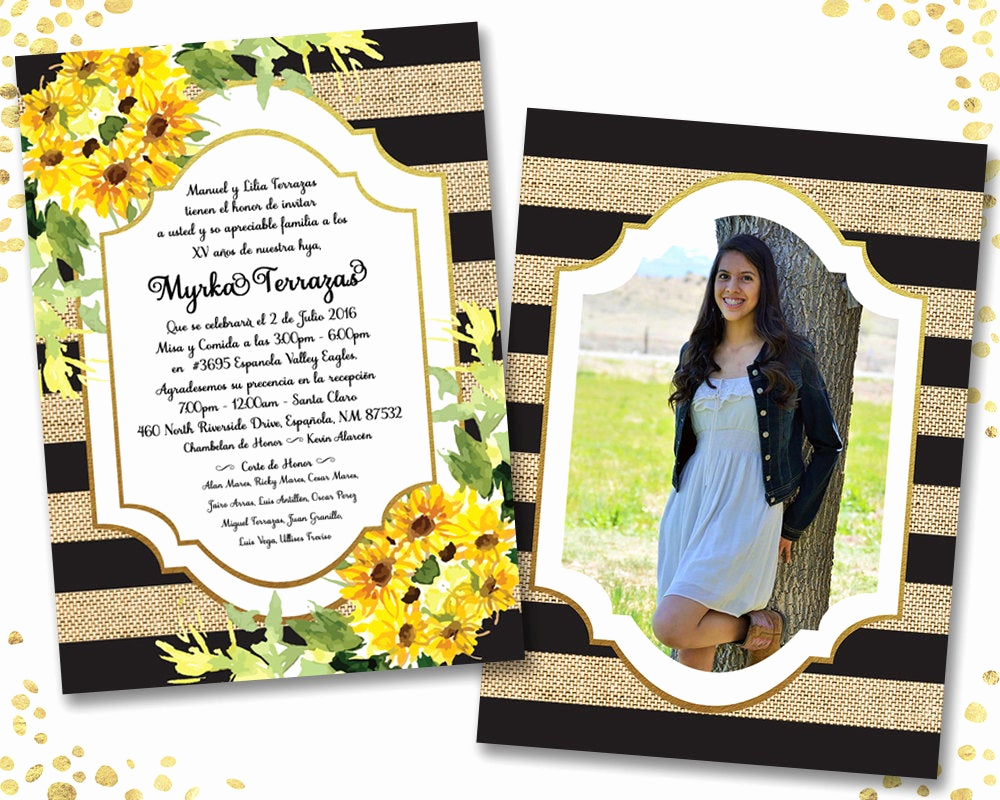 Quinceanera Invitation Wording In Spanish Awesome Rustic Quinceanera Invitation Spanish Sunflower Quinceanera