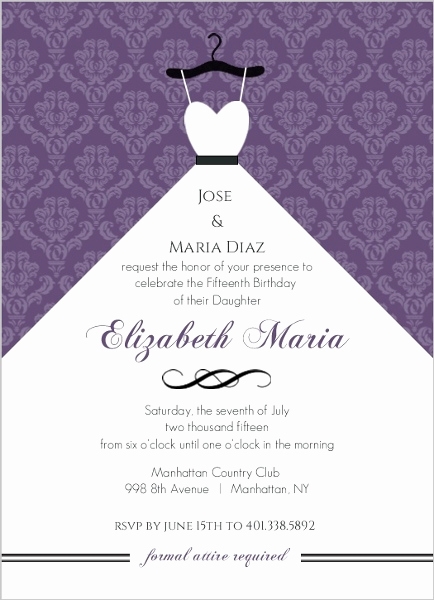 Quinceanera Invitation Wording In Spanish Best Of Purple Damask and White Dress Quinceanera Invitation