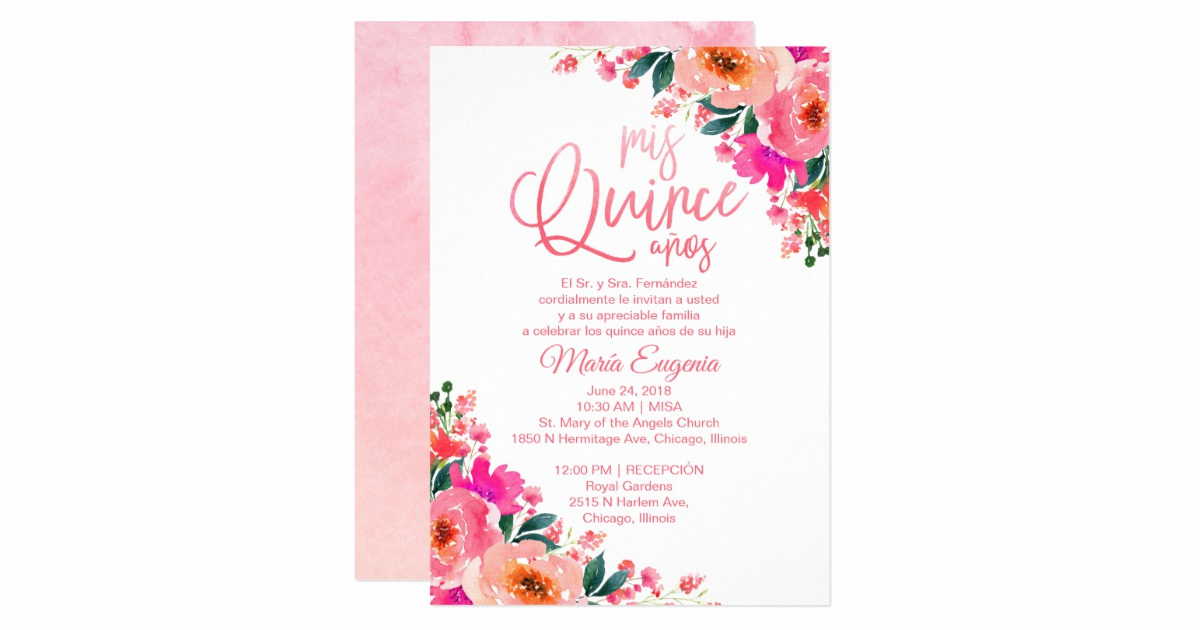 Quinceanera Invitation Wording In Spanish Elegant Quinceanera Invitations Spanish Hot Pink Floral