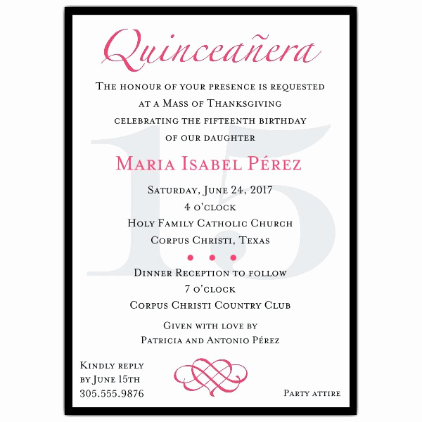 Quinceanera Invitation Wording In Spanish Lovely Classic Hot Pink Quinceanera Party Invitations