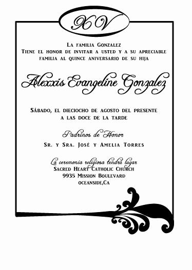 Quinceanera Invitation Wording In Spanish Lovely Spanish Quinceañera Invitations
