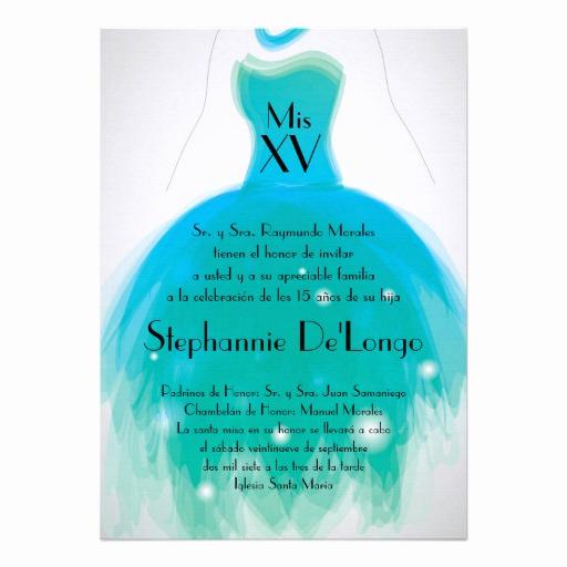 "Quinceanera Invitation Wording In Spanish Luxury 5x7 Teal Dress Quinceanera Birthday Invitation 5"" X 7"