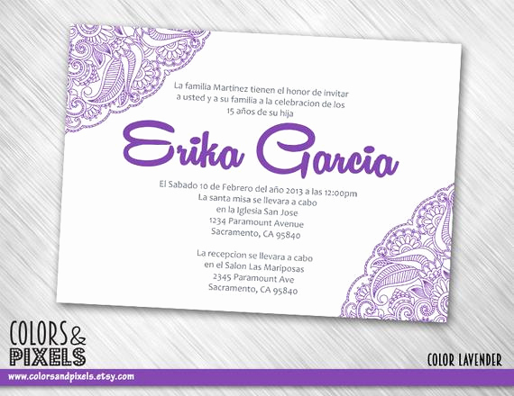 Quinceanera Invitation Wording In Spanish New Items Similar to Quinceanera Invitation Quince Invitation