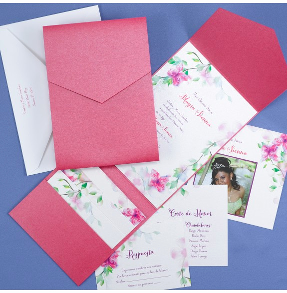 Quinceanera Invitation Wording Samples Elegant Blooms and butterflies Quinceanera Invitation