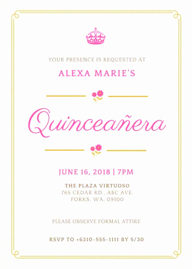 Quinceanera Invitation Wording Samples Elegant Quinceañera Invitation Samples