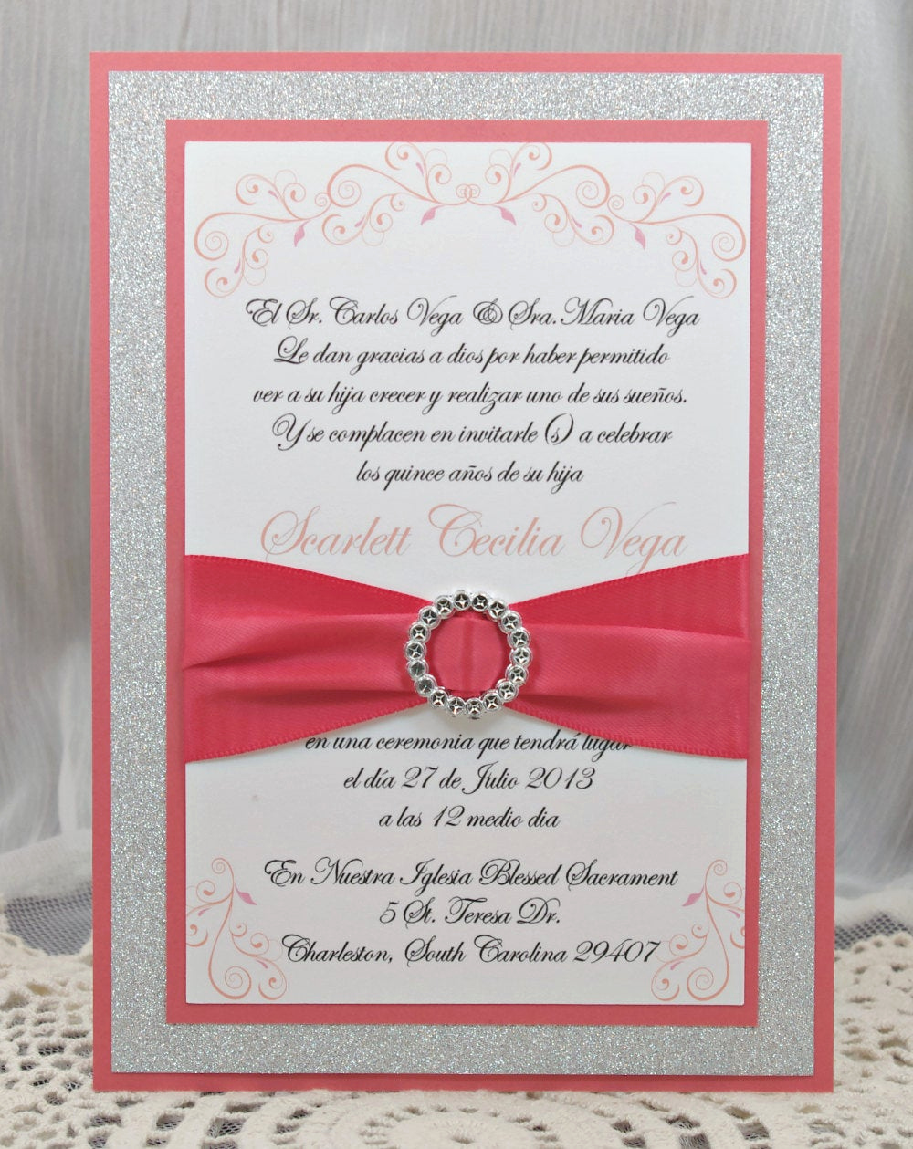 Quinceanera Invitation Wording Samples Inspirational Coral Peach Quinceañera Sweet Sixteen Invitation by