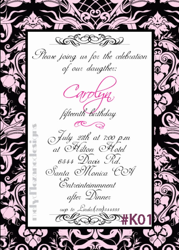Quinceanera Invitation Wording Samples New Modern Sweet 16 or Quinceanera Invitation by