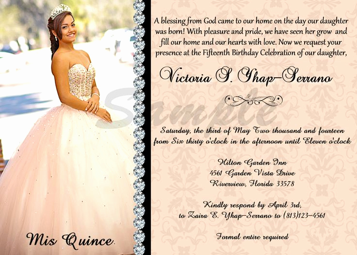 Quinceanera Invitation Wording Samples Unique Quinceañera Invitation Sweet 16 Peach Color Digital and